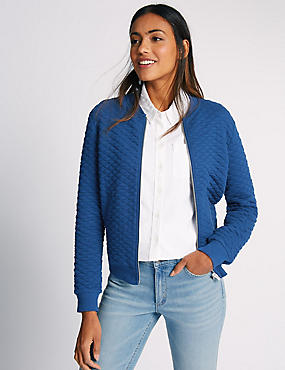 Cotton Blend Quilted Jersey Bomber Jacket, BLUE, catlanding