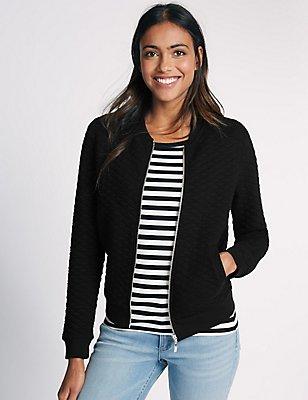 Cotton Blend Quilted Jersey Bomber Jacket, BLACK, catlanding