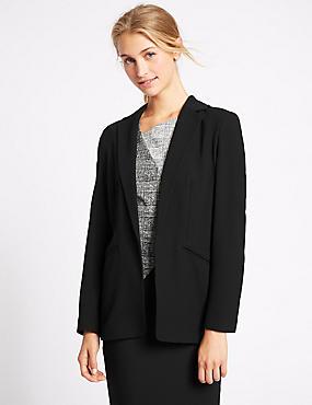 Open Front 2 Pocket Jacket, BLACK, catlanding