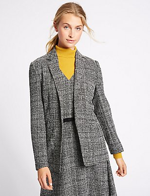 Open Front Check Textured Jacket, BLACK MIX, catlanding