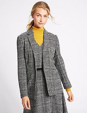Open Front Check Textured Jacket, BLACK MIX, catlanding