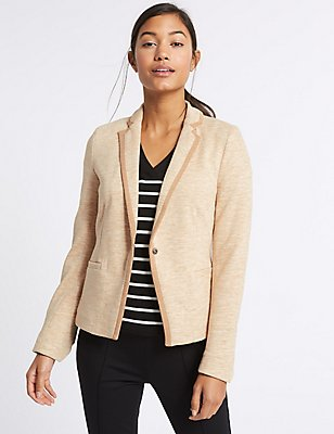 Textured Stretch Blazer, CAMEL, catlanding