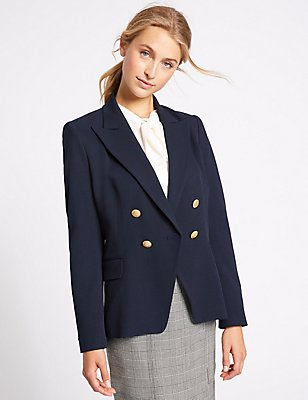 Gold Button Double Breasted Jacket, NAVY MIX, catlanding