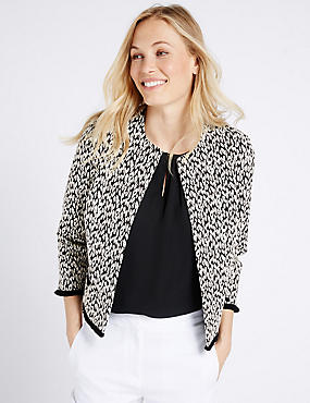 Cotton Blend Animal Jacquard Print Jacket, BLACK MIX, catlanding