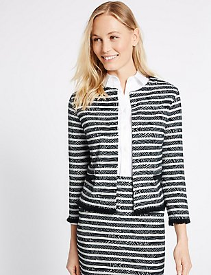 Striped Geometric Fringe Detail Jacket, NAVY MIX, catlanding