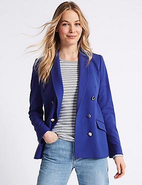 Gold Button Jacket, BLUE, catlanding