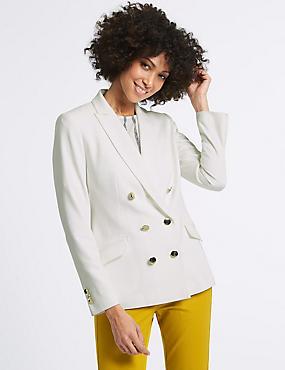 Gold Button Jacket, WINTER WHITE, catlanding