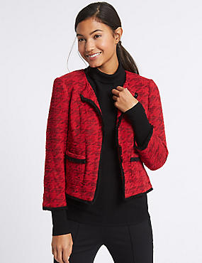 Cotton Rich Dogstooth Texture Jacket, RED, catlanding
