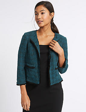 Cotton Rich Dogstooth Texture Jacket, TEAL MIX, catlanding