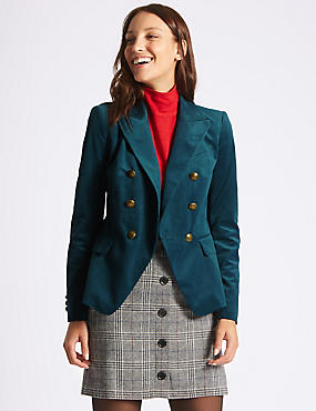 Velvet Gold Button Double Breasted Jacket, TEAL, catlanding