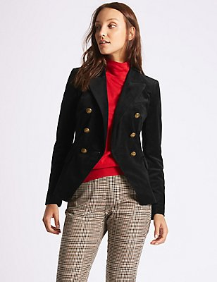 Velvet Gold Button Double Breasted Jacket, BLACK, catlanding