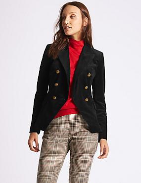 Velvet Gold Button Double Breasted Jacket, BLACK, catlanding