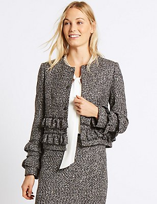 Frill Tweed Textured Jacket, SILVER MIX, catlanding