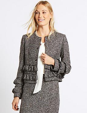 Frill Tweed Textured Jacket, SILVER MIX, catlanding