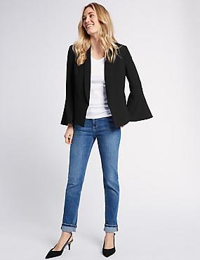 Frill Sleeve Blazer, BLACK, catlanding