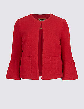 Cotton Rich Frill Sleeve Jacket, RED, catlanding
