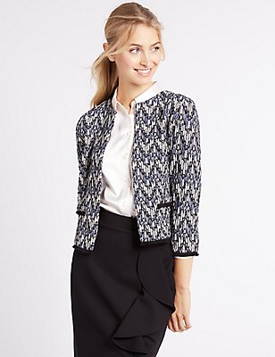 Printed Jersey Jacket, BLUE MIX, catlanding