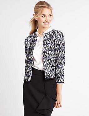Printed Jersey Jacket, BLUE MIX, catlanding