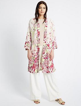 Longline Floral Print Kimono Jacket, MULTI, catlanding