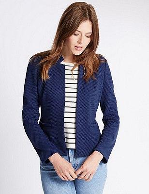 Textured  Jersey Jacket, BLUE, catlanding