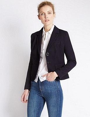 Piqué Jacket, NAVY, catlanding
