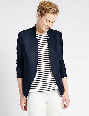 Linen Blend Open Front Jacket, NAVY, catlanding