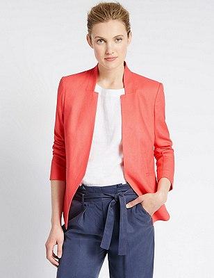 Linen Blend Open Front Jacket, GERANIUM, catlanding