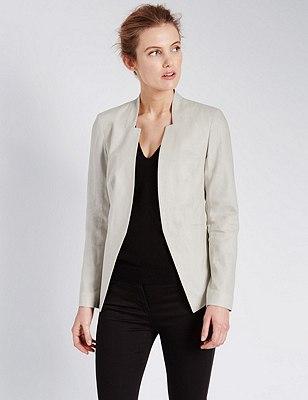 Linen Blend Open Front Jacket, FLAX, catlanding