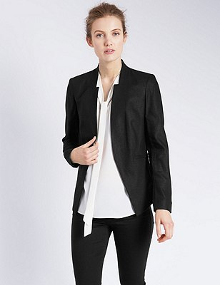 Linen Blend Open Front Jacket, BLACK, catlanding