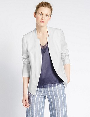 Linen Blend Notch Neck Jacket, WHITE, catlanding