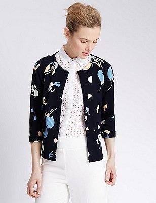 Abstract Print Textured Jacket, NAVY MIX, catlanding