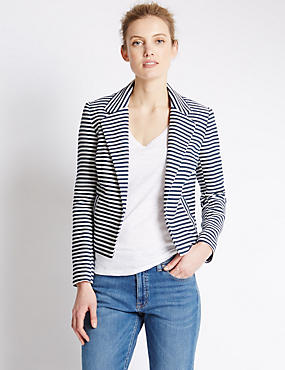 Cotton Rich Striped Boxy Jacket