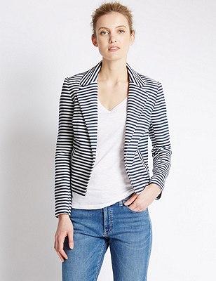 Cotton Rich Striped Boxy Jacket, IVORY MIX, catlanding