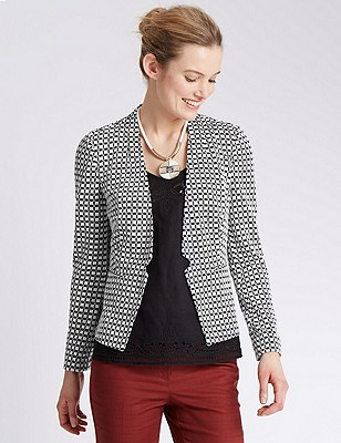Notch Front Checked Jacket, IVORY MIX, catlanding