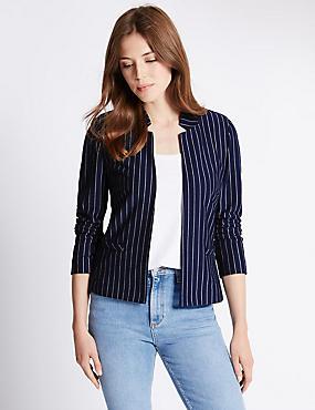 Pinstriped Jersey Jacket, NAVY, catlanding