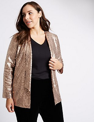 PETITE Long Sleeve Sequin Jacket, ROSE PINK, catlanding