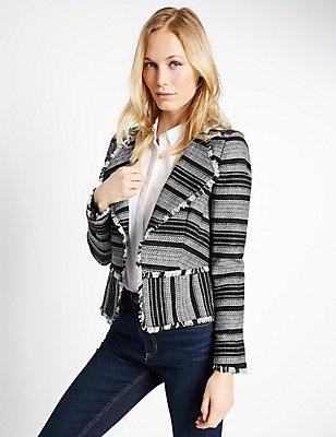 Aztec Striped Fringe Jacket, BLACK MIX, catlanding