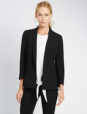 Turn Back Cuff  Jacket, BLACK, catlanding