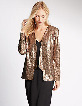 Long Sleeve Sequin Jacket, LIGHT TERRACOTTA, catlanding