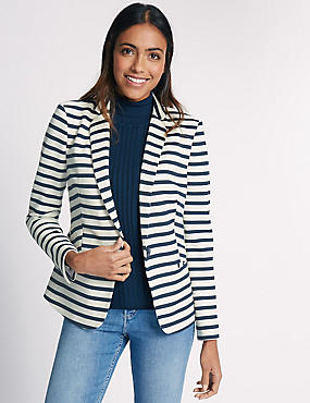 Striped Blazer, NAVY MIX, catlanding