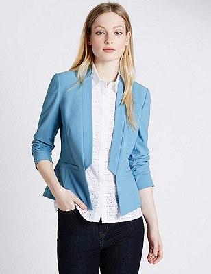 PETITE Step Front Jacket, PALE BLUE, catlanding