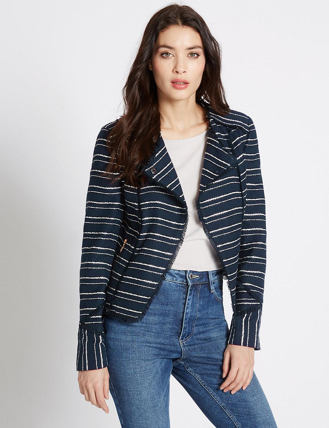 Cotton Blend Striped Fringe Jacket