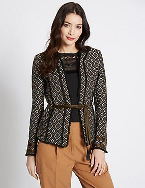 Geometric Print Jacket, BLACK MIX, catlanding