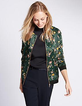 Floral Print Bomber Jacket, GREEN MIX, catlanding