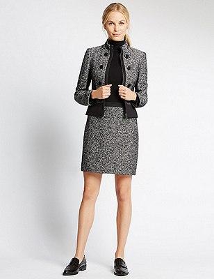 Tailored Fit Tweed Jacket, BLACK MIX, catlanding