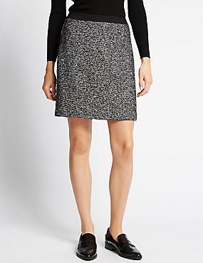 Tweed Mini Skirt, BLACK MIX, catlanding