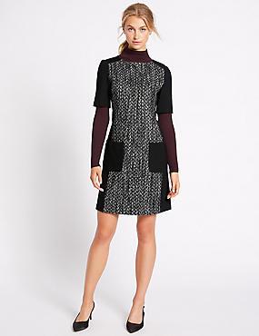 Textured Patch Pocket Tunic Dress, BLACK MIX, catlanding