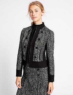 Textured Contrast Hem Tweed Jacket, BLACK MIX, catlanding