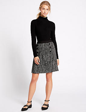 Textured A-Line Mini Skirt, BLACK MIX, catlanding