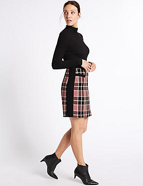 Cotton Rich Checked A-Line Mini Skirt, PINK MIX, catlanding